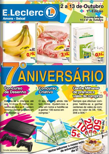 Novo Folheto E-Leclerc Amora, de 2 Outubro a 13 Outubro - 7º Aniversário