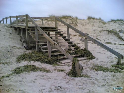 Temporal na praia do Cabedelo - Verde nas escadas