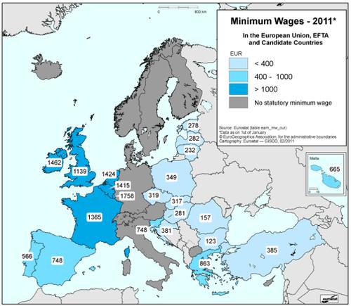 O mapa europeu do salrio mnimo europeu em 2011 eu acuso sciox Image collections