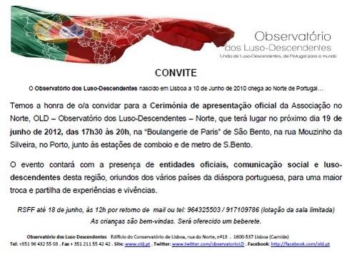 Convite Cerimónio de 19 de Junho no Porto