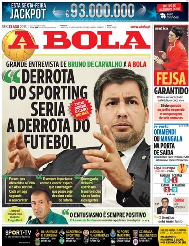 Jornal A Bola - Capas - Destaques - Notícias - Diários - Capas de ... 4340d6d564e40