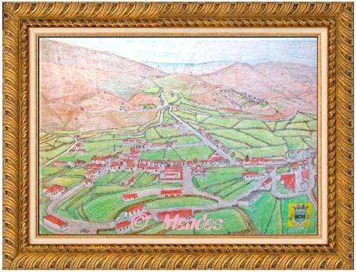 11 - Vista Geral da Vila de Cerva Lápis Aguarela.