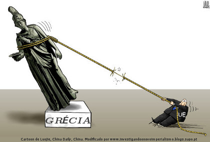 Grécia, União Europeia, dívida, cartoon
