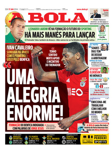 Jornal A Bola - Notícias - Capas - Destaques - Diários - 17 de Janeiro - Capas  de Imprensa - Jornais e Revistas aec456813df49