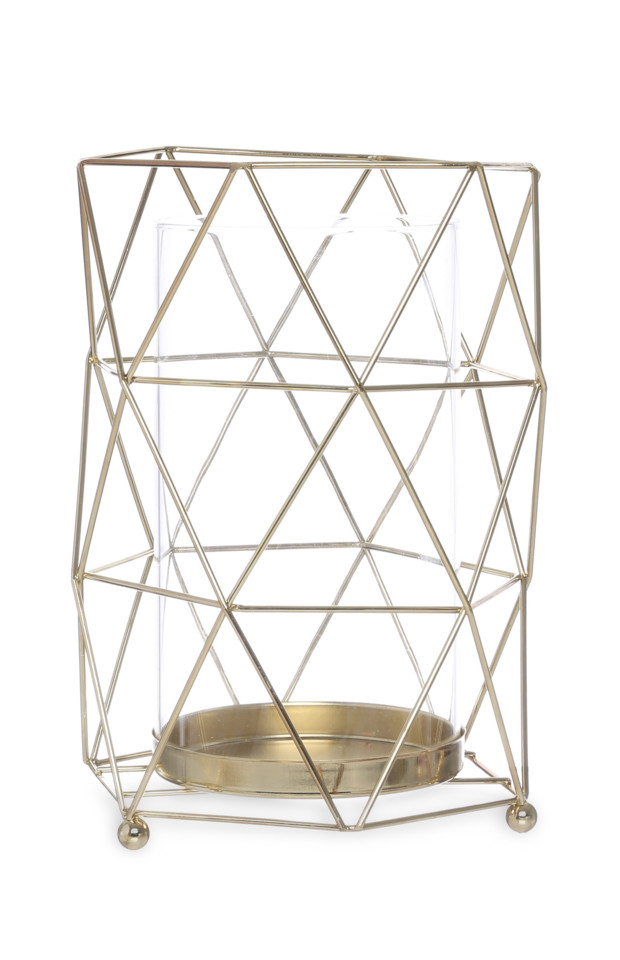Kimball-1707001-WIREGLASS CANDLE HOLDER GOLD, W