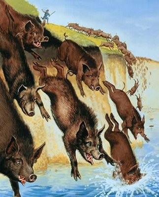 Resultado de imagem para jesus expulsa os demonios para os porcos