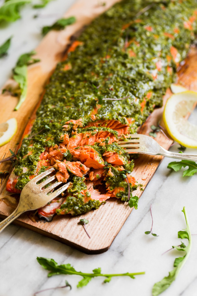 Cedar-Plank-Grilled-Salmon-with-Mixed-Herb-Chimich