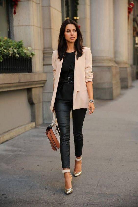 Look Blazer Rosa + Calça Preta Blog de Moda e Estilo