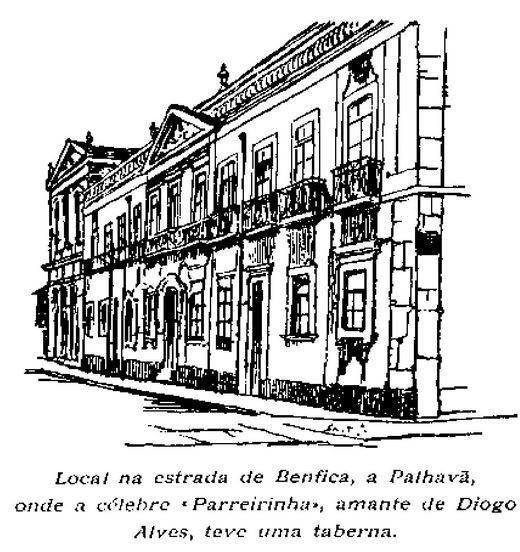 Local na Estr. de Benfica a Palhavã (i.é, a Sete Rios), onde a célebre «Parreirinha», amante de Diogo Alves, teve uma taberna (