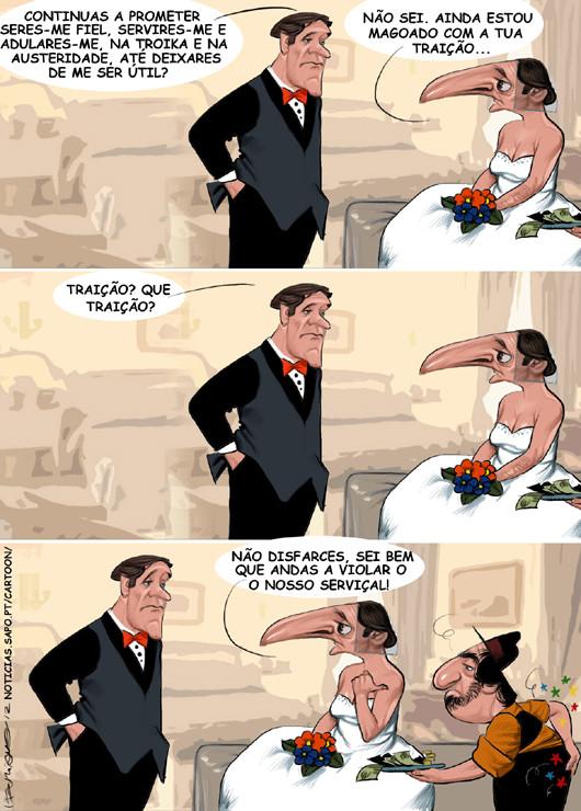 Cartoons - Novos votos - Pedro Passos Coelho e Paulo Portas noivos