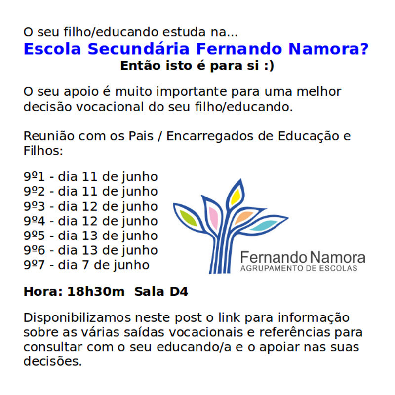 Reunião com pais e encarregados de educação 7, 11, 12 e 13 de junho
