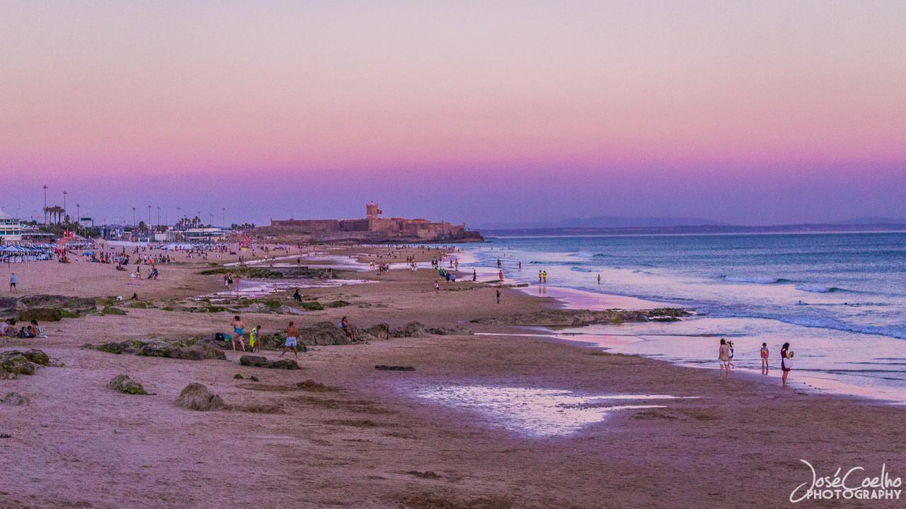 carcavelos beach portugal sunset por-do-sol praia mar céu sky