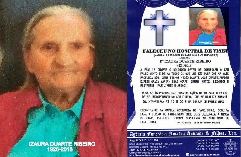 FOTO RIP- DE IZAURA DUARTE RIBEIRO-92 ANOS (FAREJI