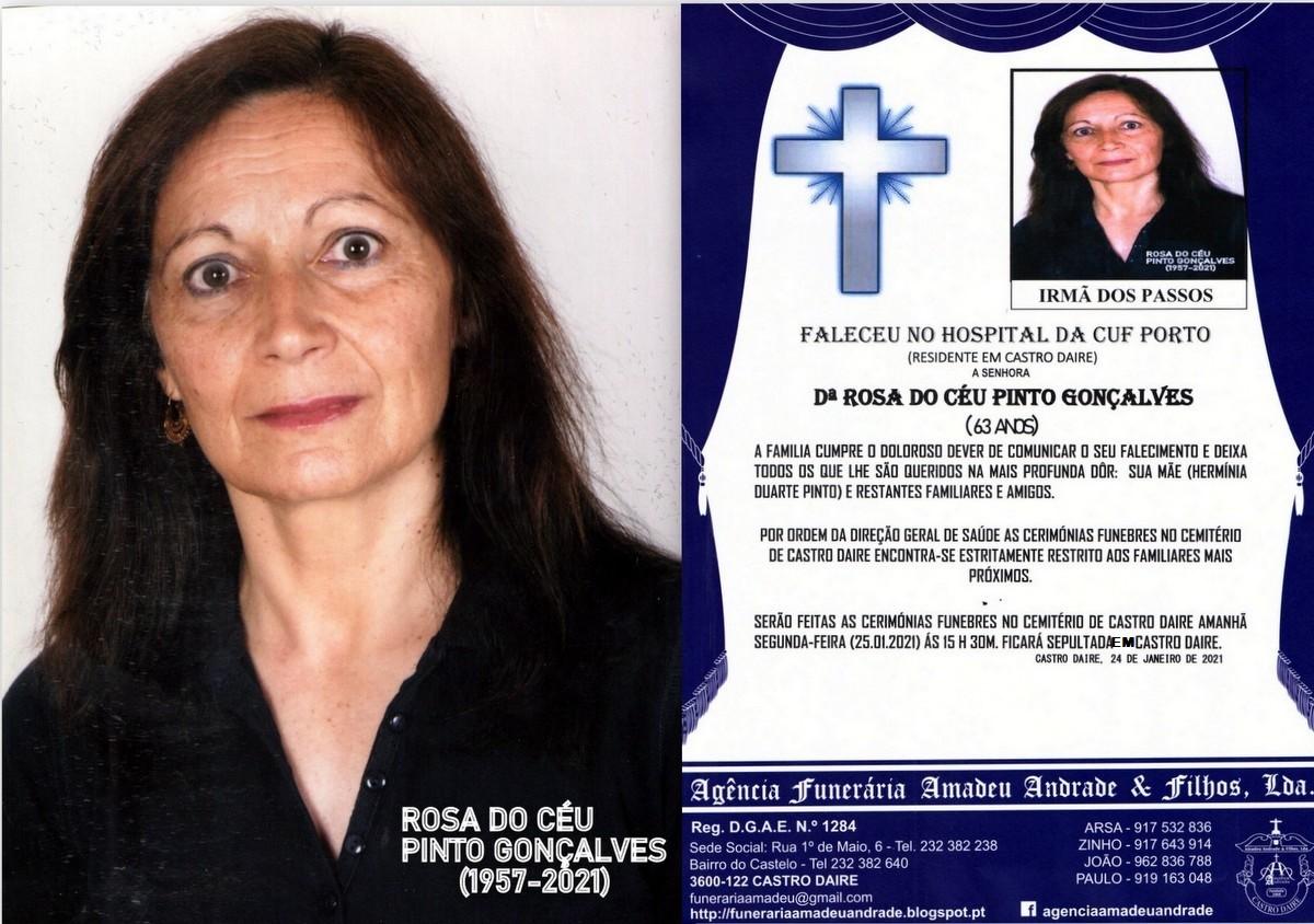 FOTO RIP  DE ROSA DO CÉU PINTO GONÇALVES-63 ANOS