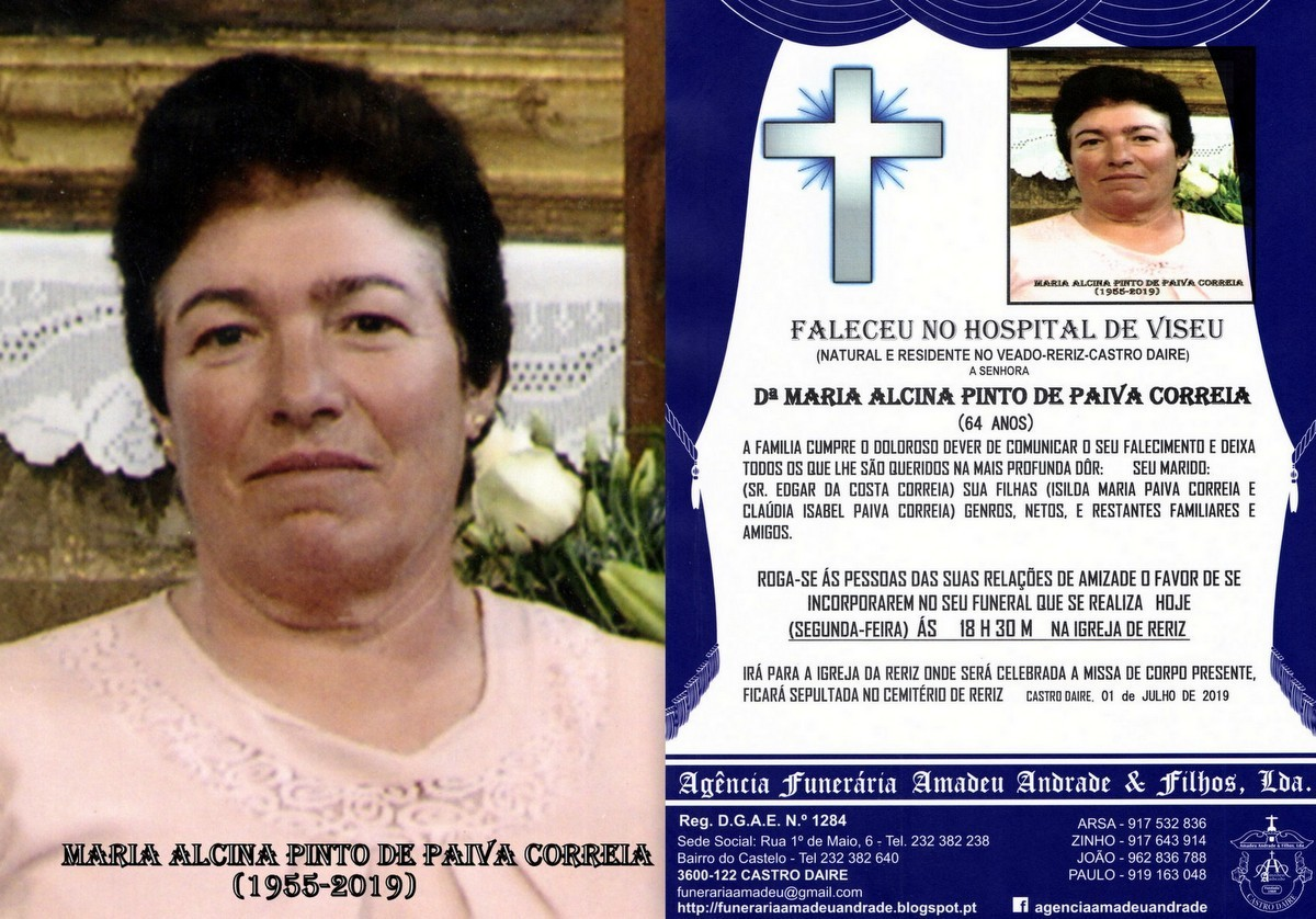 NOVO FOTO RIP DE MARIA ALCINA PINTO DE PAIVA CORRE