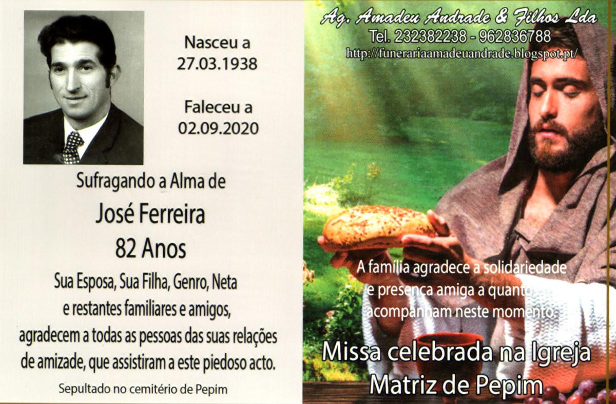 CARTÃO DE AGRADECIMENTO DE JOSÉ FERREIRA-82 ANOS