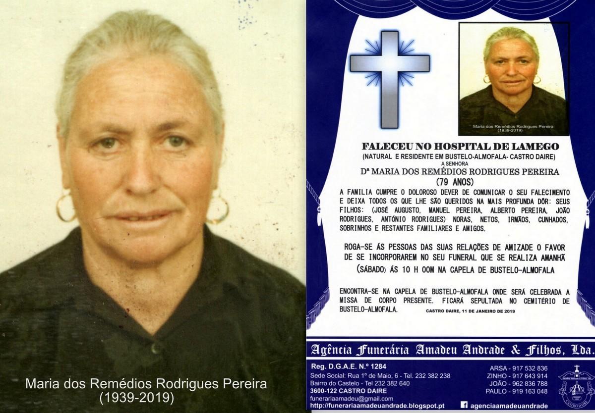 FOTO RIP DE MARIA DOS REMÉDIOS RODRIGUES PEREIRA