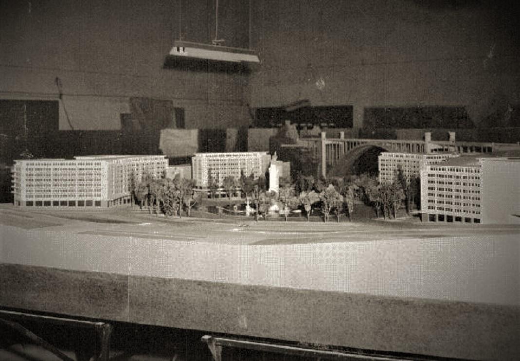 Maquete da futura praça Marquês de Pombal, 1958,