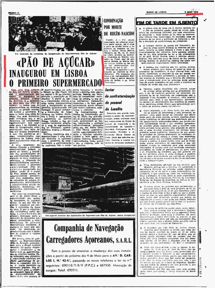Novo supermercado Pão de Açúcar, Avenida dos Estados Unidos da América (Diário de Lisboa, 2/5/1970)
