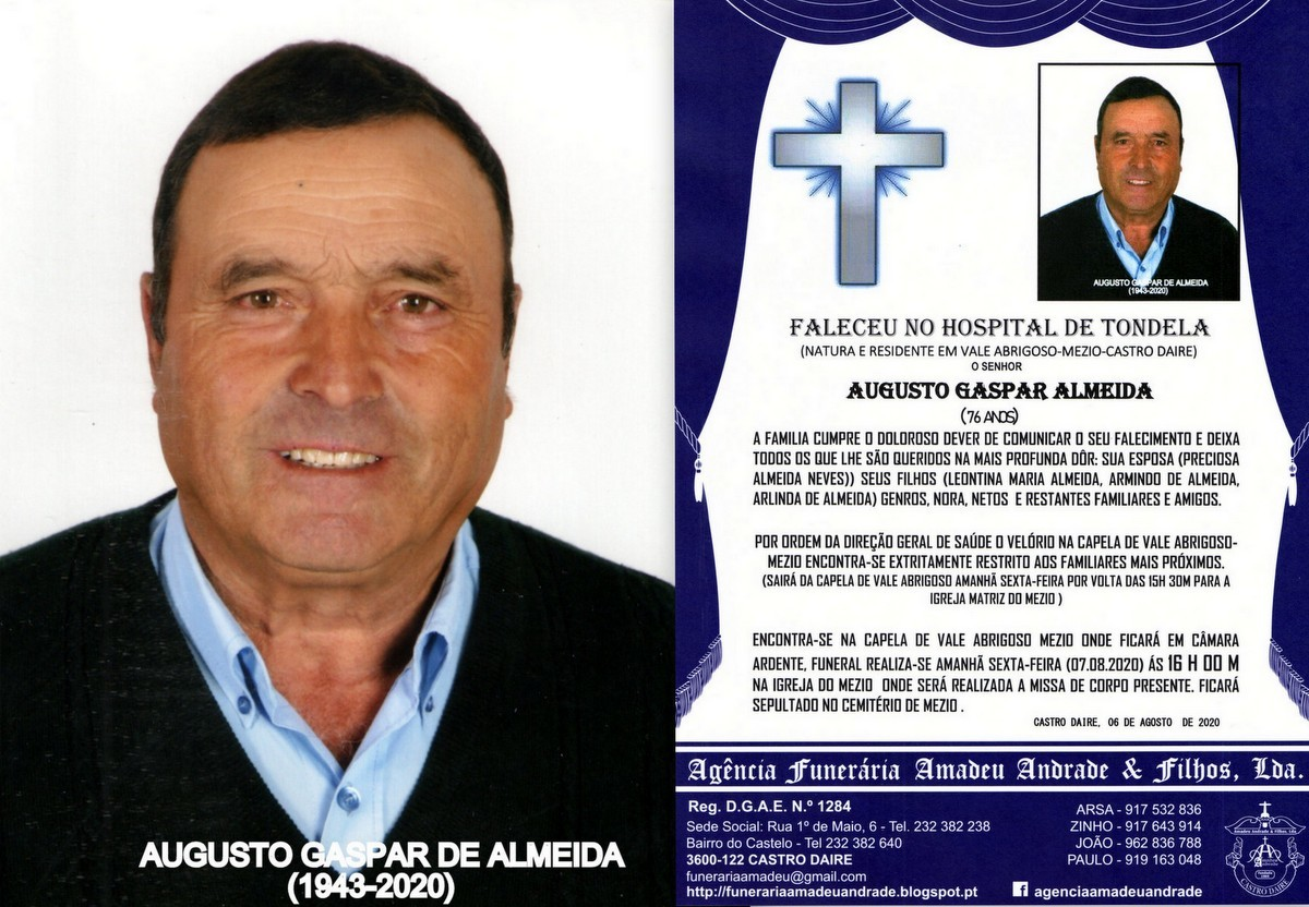 FOTO RIP DE AUGUSTO GASPAR ALMEIDA -76 ANOS (VALE