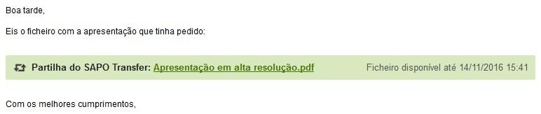 SAPO Mail - Anexos SAPO Transfer - link na mensagem