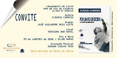 Apresentação do livro da Cláudia Cardoso, hoje à noite em Angra...