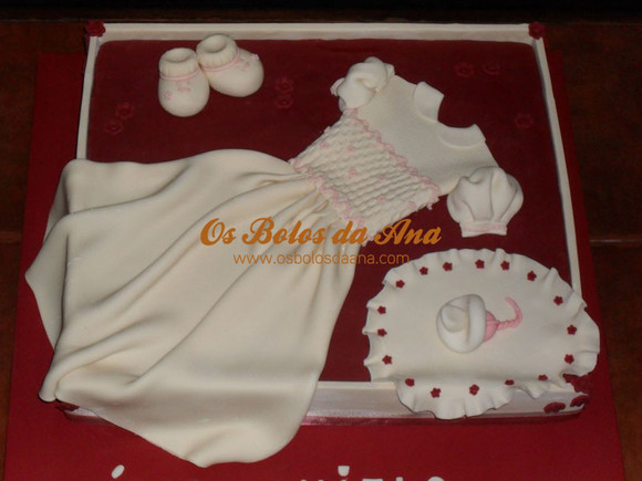 Bolo Baptizado Artistico - Caixa de Vestido de Baptizado