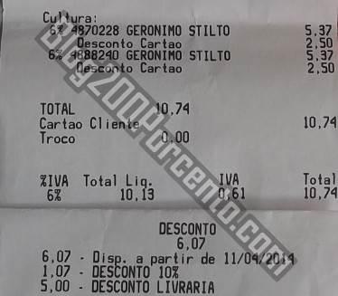Resultado do uso do talão de 5€ em 10€ de livros   CONTINENTE  