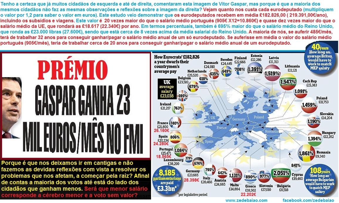 vitor gaspar, salários eurodeputados europeias 2014